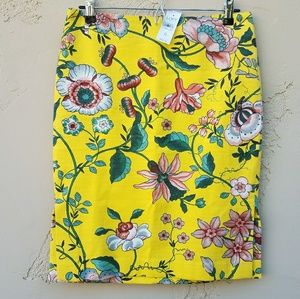 NWT Ann Taylor LOFT Floral Pencil Skirt Size 6